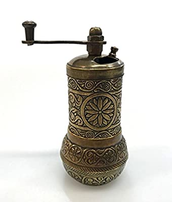 Mocha/Coffee/Spice Mill Oriental Manual Crank 10 cm Brass Handmade from Kahveci Osman