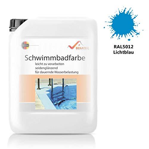 Bekateq Poolfarbe LS-400, blau 10l seidenmatt, Schwimmbadfarbe Chlorkautschukfarbe für mineralische Untergründe wie Beton, Mauerwerk, Putz