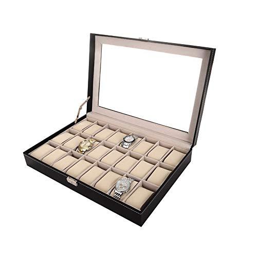 Wagsiyi Watch Organizer Schwarz pu-Leder 24 Uhr aufbewahrungsbox Fall Armband armreif Display Tray Aufbewahrungsbox Für Schmuck (Farbe : Schwarz, Größe : Einheitsgröße) Display-trays