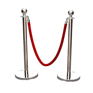 AllRight Queue Rope Barrier Set Polished Stainless Steel Queue Rope Posts 1.5m Velvet Red(2 Posts + 1 Rope)
