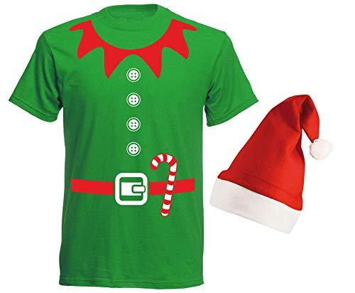 aprom Elfen Kostüm - T-Shirt mit Roter Mütze Weihnachten Gruppenkostüm Karneval X-Mas Elfenkostüm GR ()