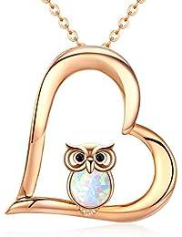 Kette Herz Damen Opal Eule Halskette Anhänger 925 Sterling Silber Anhänger  Rosegold Schmuck… 1bb6f8d0cf