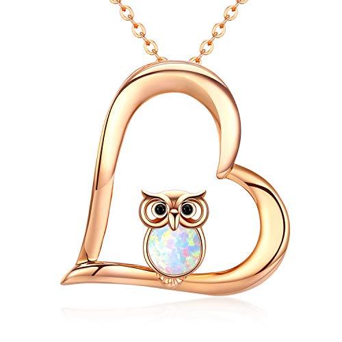 Kette Herz Damen Opal Eule Halskette Anhänger 925 Sterling Silber Anhänger Rosegold Schmuck Kindertag Geschenke für Frauen Mädchen Freundin Mutter Tochter