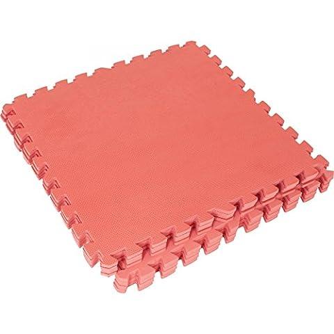 Schutzmatten Set Gorilla Sports - 8 Bodenschutzmatten in verschiedenen Farben 60x60cm (rot)