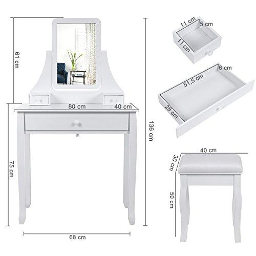 Songmics Schminktisch 3 Schubladen mit Spiegel Hocker inkl. 2 Stück Unterteiler, 80 x 136 x 40 cm (B x H x T) RDT003 - 7