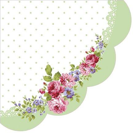 Servietten rund 12 Rosen-Abbildung auf grün/weiß/Blumen/Blumenmotiv Ø32cm