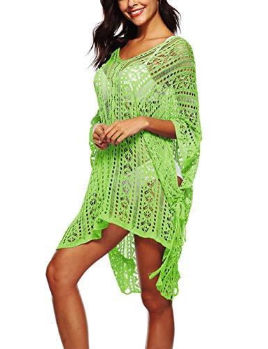 EUTUOPU Women's Crochet Lace Hollow-Out Cover up Bikini Swimwear Bathing Suit Beachwear (Lime Green) (Lime Tankini Green)