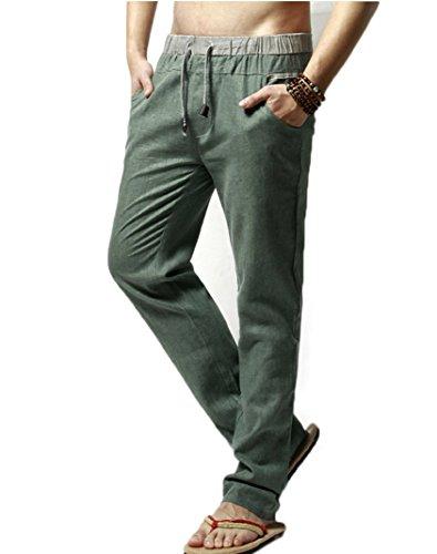 Homme Pantalon de Loisir en Lin Confortable Respirant Taille Elastique Cordon de Serrage Vert