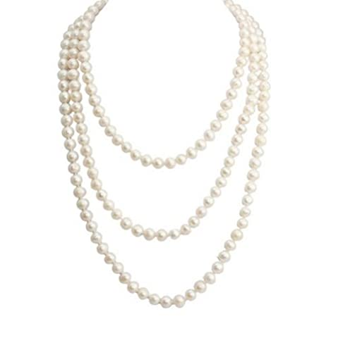 Pearl 7-8 mm White Round Endless Pearl Necklace,Strands Necklace -NPW060 by Dazzle flash