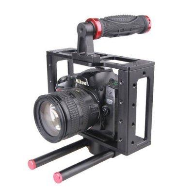 Preisvergleich Produktbild GOWE Aluminium DSLR Kamera Cage Schulterstativ Griff oben 15 mm rig für canon EOS 5D/7D
