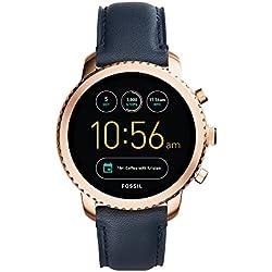 FOSSIL Montre connectée Explorist / Smartwatch étanche en cuir bleu marine - Compatibilité iOS & Android - Coffret montre avec son chargeur