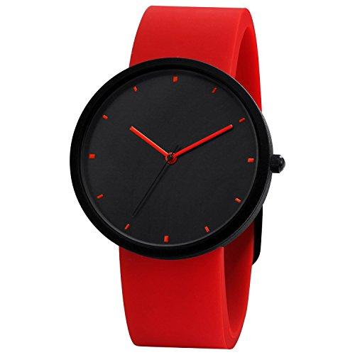 Comtex Damen Armbanduhr Schwarz Analog Quarz mit Rotes Silikon Armband SYM170088
