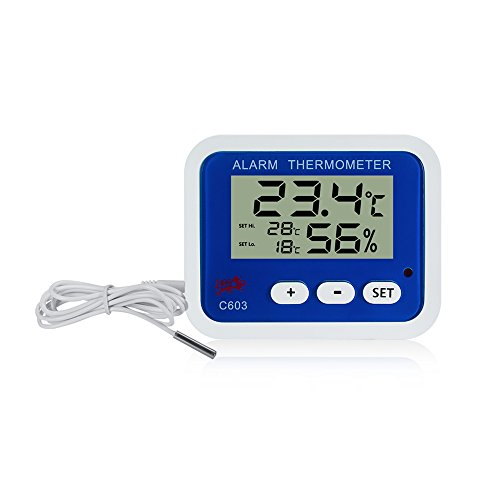 Termometro igrometro lcd digitale interno esterno / misuratore temperatura umidità valore min/max con funzione sveglia e 1m filo di sensore per controllo di aria condizionata casa ufficio hotel stanza ospedale laboratorio e industria allevamento