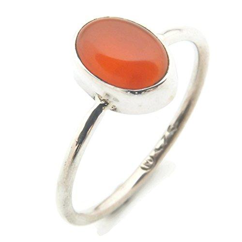 Ring Silber 925 Sterlingsilber Karneol orange rot Stein (MRI 10), Ringgröße:56 mm/Ø 17.8 mm (Orange Braut-schmuck-set)