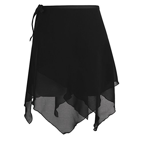 Kostüm Petticoat Chiffon - iiniim Damen Rock Chiffon Asymmetrisch Rock Ballettrock Tanzrock Trikot Gymnastik Kostüm Schwarz Einheitsgröße