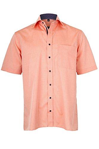 eterna Kurzarm Hemd Comfort Fit mit Kent-Kragen Locker Geschnitten Lachs Unifarben, Grösse:48