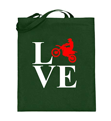 generisch Love Dirt Bike - Motocross, Dirt Jump, Schmutzsprung, Radsport, Motorradsport, Sportler - Jutebeutel (mit langen Henkeln) -38cm-42cm-Grün