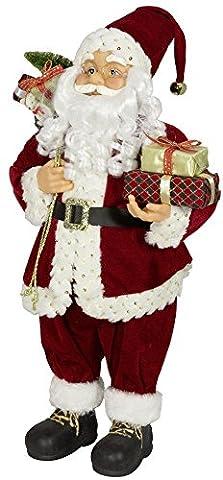 Weihnachtsmann Santa Nikolaus Josef mit schönem Gesicht und vielen Details / Größe ca.80cm / roter Fellmantel, rote Fellmütze mit Glöckchen, rote Hose, schwarze Stiefel -
