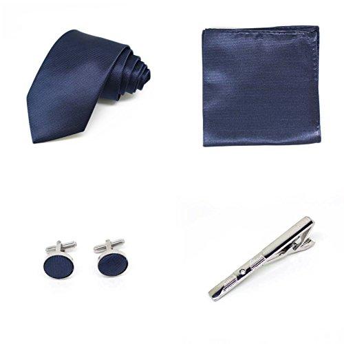 Coffret Cadeau Ensemble Cravate homme, Mouchoir de poche, épingle et boutons de manchette