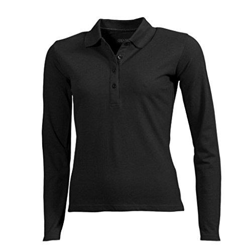 JAMES & NICHOLSON Langärmeliges Poloshirt mit hohem Tragekomfort Black
