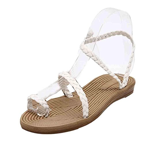 Ouneed® Damen Sandalen ,Sommer Weave Sandalen Home Sandalen Strand Flat Schuhe Weiß