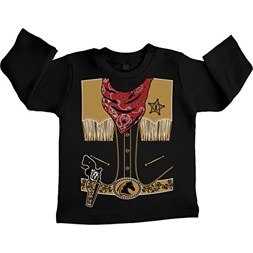ostüm Karneval Sheriff Unisex Baby Langarmshirt Gr. 66-93 12-18 Monate / 86 Schwarz (Halloween-kostüm-zertifikate)