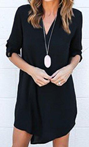 erdbeerloft - Damen Asymmetrisches Blusenkleid mit V-Ausschnitt, XS-3XL, Viele Farben Schwarz