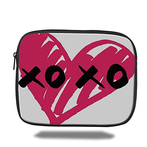 Tablet Bag for Ipad air 2/3/4/mini 9.7 inch,Xo Decor,Lovers Heart with Kisses Sign Abstract Calligraphy Artistic Romance Couple Graphic,Pink Black,3D Print (Xo Kids Tablet)