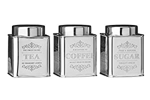 Premier Housewares Stainless Steel Chai Tea/Coffee/Sugar Canisters - Set of 3
