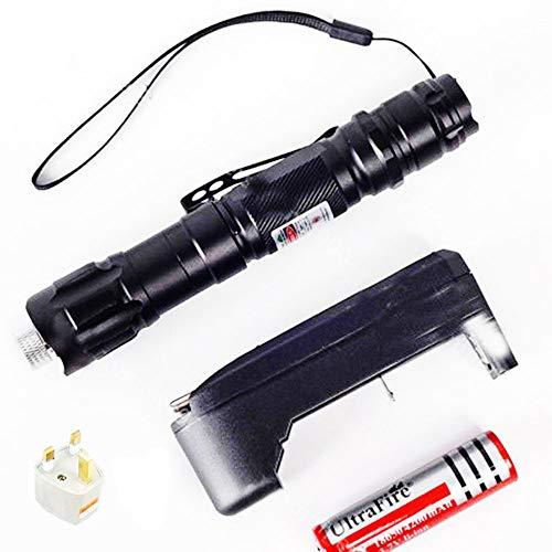 Profesional 1mW 532nm 8000m potente luz Clicker Demo remoto bolígrafo puntero Proyector viajes al aire libre linterna multifunción linterna ajustable táctico Camping linterna + cargador + batería 18650+ adaptador verde