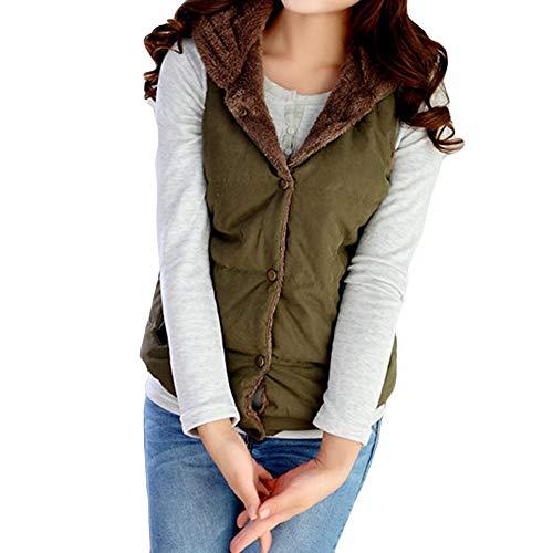 MYMYG Damen Manteljacke Oberteile Outwear Herbst Winter Blusen Tops Kapuze Weste Outwear Warmer Mantel-Lange Starke Baumwolle gepolsterte dünne Jacke (Armeegrün,EU:40/CN-XL)