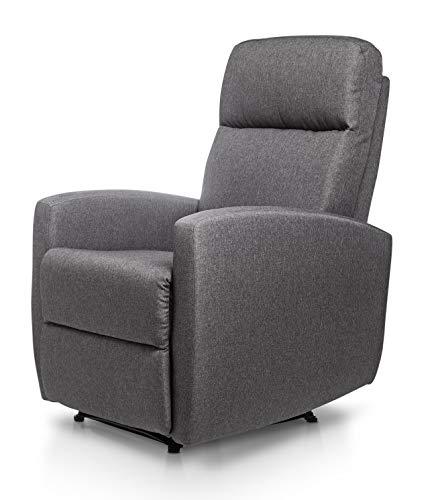 SuenosZzz Confort MAX Sillon DE Relax con Reclinación Manual, Relleno Color Gris Marengo, Butacas tapizado reclinable.