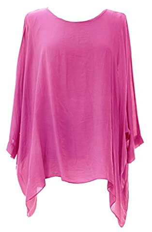 Ladies Womens Italian Lagenlook Quirky Plain Viscose Batwing Loose Baggy Tunic Top Blouse One Size Plus (UK 12-20) (One Size Plus, Cerise Pink)