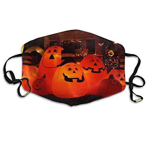 Fashion Outdoor Mouth Mask with Design, Reusable Half Face Mask Anti-dust Mask, Womens Winter Warm Mouth Anti-Dust Flu Face Mask Happy Halloween Pumpkin Light On The Yard