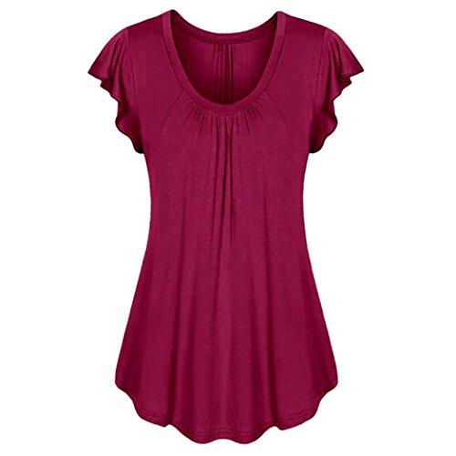 Yvelands Damen Rundhals Geripptes Sleeve Casual Falten Kurzarm T-Shirt mit Stretch Top