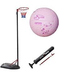 Bee-Ball Adjustable Netball Post Package. Netball Hoop, Premium Lusum Netball and Pump (10 Foot/3.05 Meters, INF Approved Height)