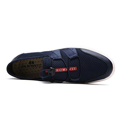Schuhe Herren Turnschuhe greifen On Blau Sommer Schuh Skate Loafer beil盲ufige Ineinander Slip BOMRVII Breathable Lauf Do Kordelzug H5Zq8xx