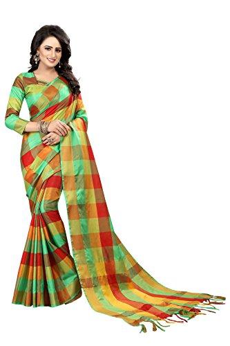 Perfectblue Women's cotton Silk Saree With Blouse Piece ()GreeenRedSmallZIK