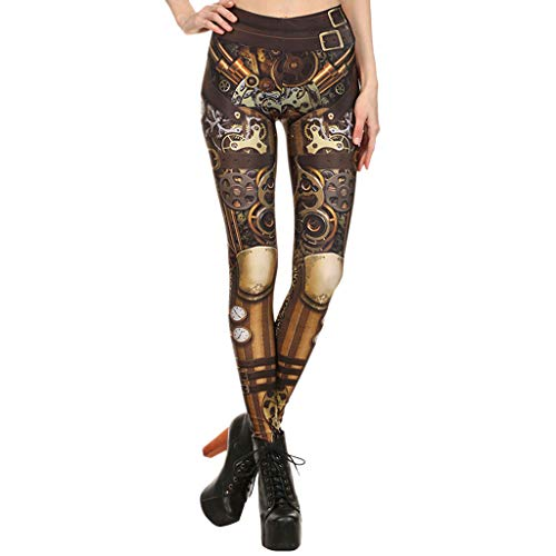 SIOPEW Hosen Frauen Steampunk Retro Leggings Comic Cosplay Print Strengende Enge Röhrenhose Overalls Röcke Shorts Strumpfhosen Sweatpants (Mechaniker Kostüm Frauen)