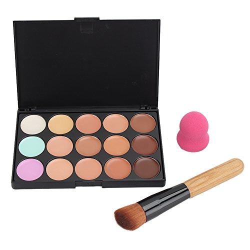 Merssavo 15 couleurs visage crème anticernes Palette + éponge Puff poudre pinceau maquillage jeux