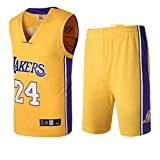 Basport Lakers No. 24 Kobe Bryant NBA Basketball-Anzug-Set für Herren,T-Yellow,XXXL