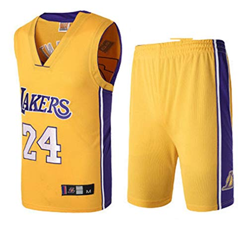 Basport Lakers No. 24 Kobe Bryant NBA Basketball-Anzug-Set für Herren,T-Yellow,XXL