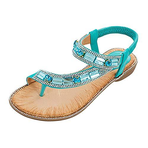 Yuan  Damen Toepost Kristall Gummiband Strand Sandalen Römische Schuhe Sommer Bling Pailletten Tuch runde Kappe Sandalen Freizeitschuhe Damenschuh