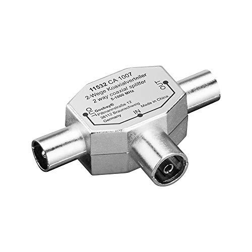 Koaxial T-Adapter (2x Koaxial-Stecker auf 1x Koaxial-Buchse) im Metallgehäuse (Koaxial-splitter, 3-weg)