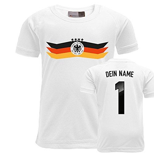 FABTEE – WM Fussball Kinder Fanshirt mit Wunschname und Nummer – Kinder Trikot Funktions T-Shirt von 3-14 Jahren, Größe:9 – 10 Jahre;Farbe:Weiß