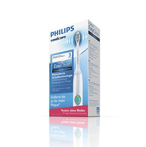 Philips Sonicare EasyClean Zahnbürste HX6512/45 - elektrische Schallzahnbürste mit Clean-Putzprogramm, Timer, Ladegerät & zwei Aufsteckbürsten - Weiß