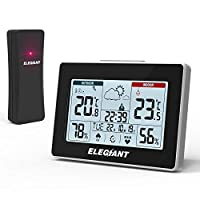 ELEGIANT Wireless Weather Station, Digital Thermometer Hygrometer, Indoor Outdoor Temperature Humidity with Large LCD Screen, Outdoor Sensor, Weather Forecast, Touch Control for Home Office Bedroom