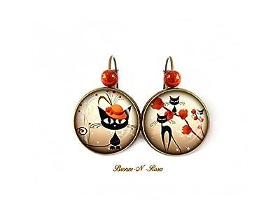 Boucles d'oreilles Chat au chapeau orange bijou cabochon bronze cadeau fille dormeuses