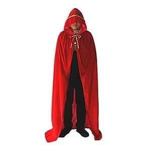 Labellevie Longue Cape à capuchon Velours Déguisement Adulte Costume Halloween avec Dentelle Dorée Rouge 110cm