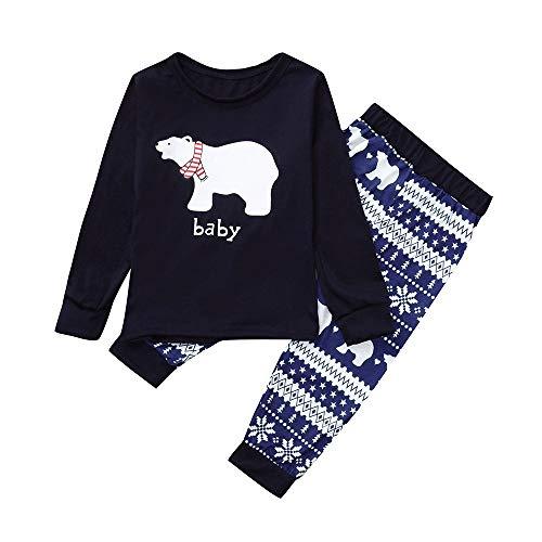 Rosennie Weihnachten Papa Mama Babys Daddy Outfit Set Familie Pajamas Set Kids kleine Bär Top + Schneeflocke Hosen Set Kleidung Herbst Langarm Schlafanzug Nachtwäsche Paar Hemd+Hose(Marine B,90)